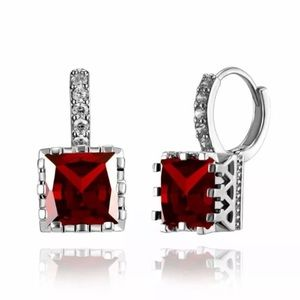 SQUARE CUT RED GARNET CZ SILVER EARRINGS